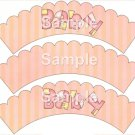 Baby ~ Bundle of Joy Pink Baby Girl Baby Shower ~ Cupcake Wrappers ~ Set of 1 Dozen