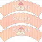 Baby In Clouds  ~ Bundle of Joy Pink Baby Girl Baby Shower ~ Cupcake Wrappers ~ Set of 1 Dozen
