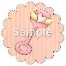Rattle ~ Bundle of Joy Pink Baby Girl Baby Shower ~ Cupcake Toppers ~ Set of 1 Dozen