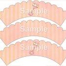 Rattle ~ Bundle of Joy Pink Baby Girl Baby Shower ~ Cupcake Wrappers ~ Set of 1 Dozen