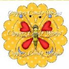 Spring Butterfly Yellow & Red Yellow Background ~ Cupcake Toppers ~ Set of 1 Dozen