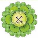 Green Plaid Bright Button Flower ~ Cupcake Toppers ~ Set of 1 Dozen