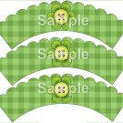 Green Plaid Bright Button Flower ~ Cupcake Wrappers ~ Set of 1 Dozen
