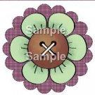 Green Flower Purple Plaid Bright Button Flower ~ Cupcake Toppers ~ Set of 1 Dozen