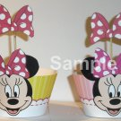 Minnie Mouse Pink With Pink Bow ~ Inspired By Disney ~ Cupcake Wrapper & Topper Set