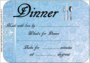 Blue Embossed Like Meal Gift Indentification and Instructions Cover Lid  ~ Foil Pan Lid Cover