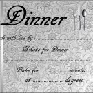 Silver Embossed Like Meal Gift Indentification and Instructions Cover Lid  ~ Foil Pan Lid Cover
