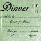 Green Embossed Like Meal Gift Indentification and Instructions Cover Lid  ~ Foil Pan Lid Cover