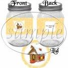 Orange Snowflake Gingerbreadhouse ~ Pint Glass Jar Label