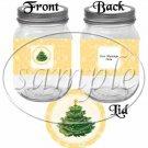 Orange Snowflake Christmas Tree ~ Pint Glass Jar Label