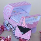 Pink Baby Carriage Buggy Baby Shower Treat or Gift Box 1 EACH