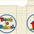"""Back to School """"logo"""" and Schoolhouse ~ Large Square Top Pinch Treat or Gift Box 1 EACH"""