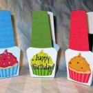 Green Base Happy Birthday Cupcakes ~ Nail Polish Holder Gift Box ~ Small