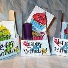 Aqua Base Happy Birthday Cupcakes ~ Nail Polish Holder Gift Box ~ Large