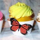 Dark Orange Standard 3D Butterfly Cupcake Wrapper, Butterflies Straight Edge, Birthday, Mother's Day