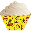 Courious George Yellow Background All Over Print ~ Standard Size  Cupcake Topper & Wrapper Set