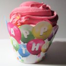 Happy Birthday Balloons Scalloped Edge ~ Standard Size  Cupcake Topper & Wrapper Set