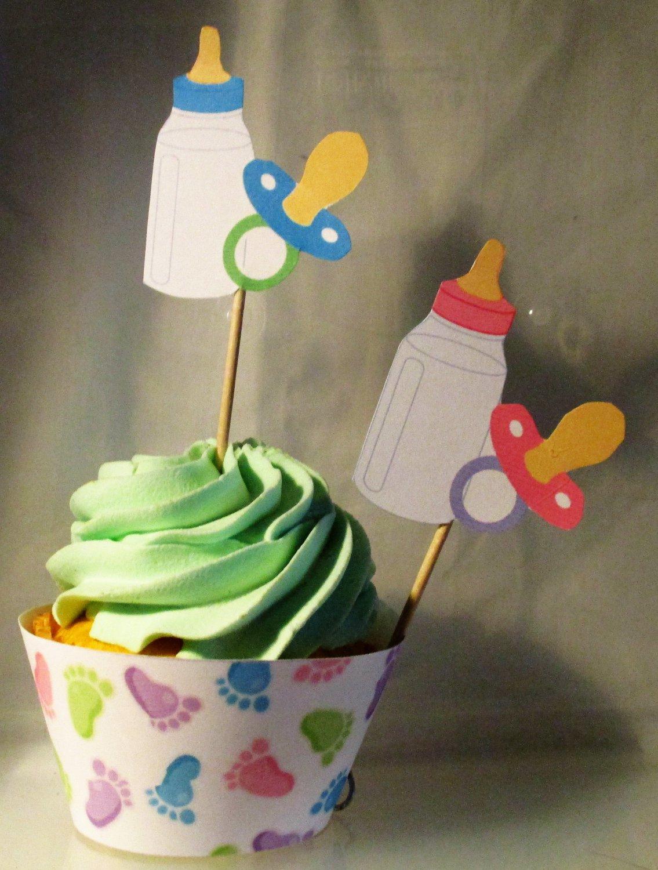Pastel Baby Feet, Baby Bottle & Pacifier Boy Straight Edge  Standard Size Cupcake Topper & Wrapper