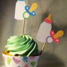 Pastel Baby Feet, Baby Bottle & Pacifier Girl Straight Edge  Standard Size Cupcake Topper & Wrapper