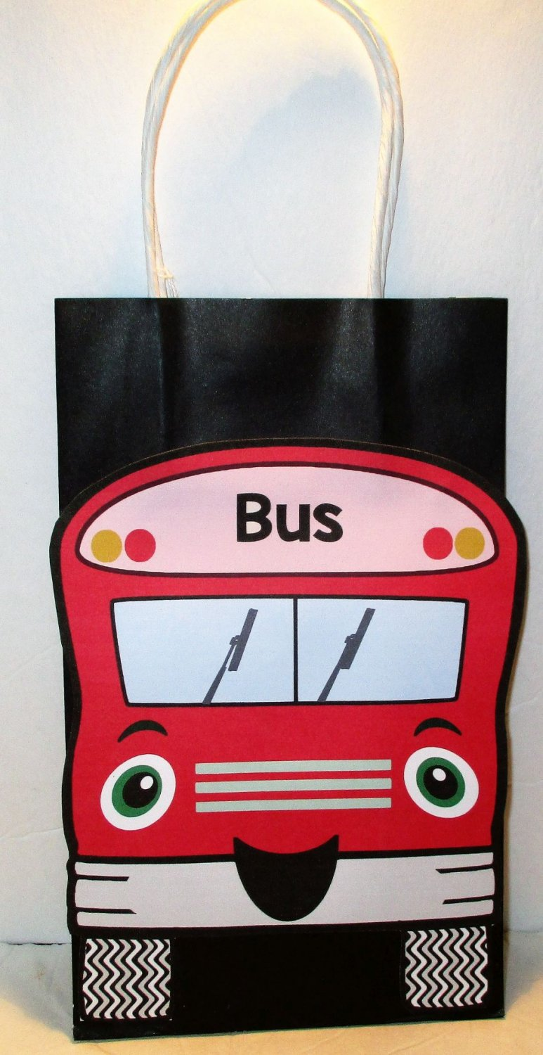 Red School Bus Inspired Gift or Treat Bag