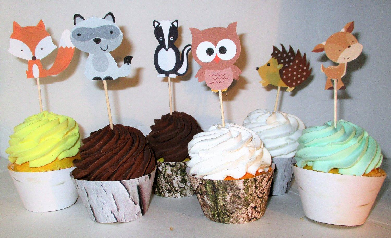Woodland Animals ~ Cupcake Toppers ~ Set of 1 Dozen