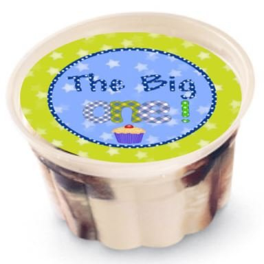 """1st Birthday 2"""" Individual Ice Cream Cup Lid Cover ~ Sticker Sheet of 20"""