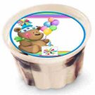 "Bear Balloons Birthday 2"" Individual Ice Cream Cup Lid Cover ~ Sticker Sheet of 20"