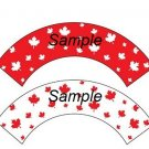 Happy Canada Day ~ Standard Size  Cupcake Topper & Wrapper Set
