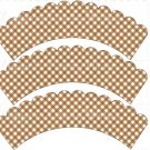 Brown Gingham ~ Cupcake Wrappers ~ Set of 1 Dozen