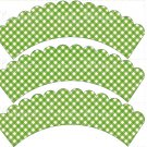 Green Gingham ~ Cupcake Wrappers ~ Set of 1 Dozen