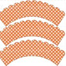 Orange Gingham ~ Cupcake Wrappers ~ Set of 1 Dozen