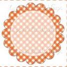 Orange Gingham Personalize it! ~ Cupcake Topper ~ Set of 1 Dozen