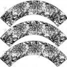 Black & White Floral Lace ~ Cupcake Wrappers ~ Set of 1 Dozen