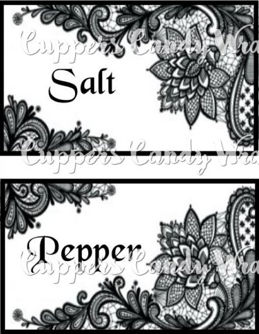 Black & White Floral Lace ~ Salt & Pepper Shaker Covers Wrappers