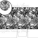 Black & White Floral Lace ~ Open Top Gift Tote Bag EACH