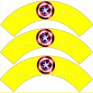 Yellow Captain America Shield Super Heroes ~ Cupcake Wrappers ~ Set of 1 Dozen