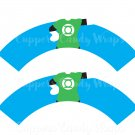 Green Lantern Super Heroes ~ Cupcake Wrappers & Toppers Set ~ Set of 1 Dozen