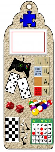 Candy Bar Gift Tag Games Bingo Dominoes, Pool, Scrabble, Chess