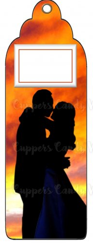 Candy Bar Gift Tag Wedding Bride & Groom Silhouette