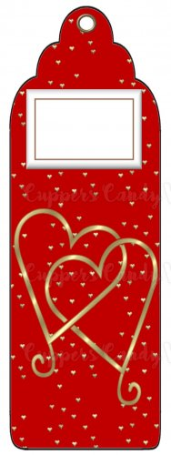 Candy Bar Gift Tag Wedding Metallic Gold Hearts