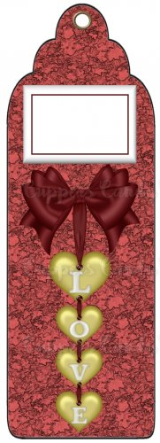Candy Bar Gift Tag Wedding Red & Gold Hearts