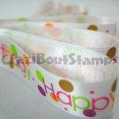 15mm x 1 Meter Happy Birthday Satin Printed Ribbon (FREE S&H)
