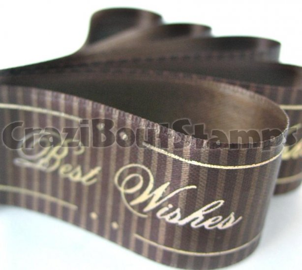 15mm x 1 Meter Best Wishes Satin Printed Ribbon (FREE S&H)