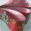 15mm x 1 Meter Cherry Blossoms Satin Printed Ribbon (FREE S&H)