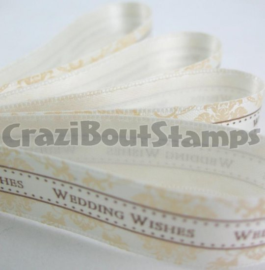 15mm x 1 Meter Wedding Wishes Satin Printed Ribbon (FREE S&H)
