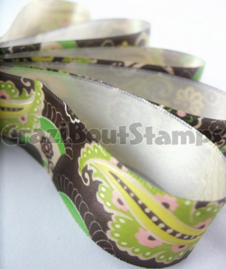 15mm x 1 Meter Paisley Satin Printed Ribbon (FREE S&H)