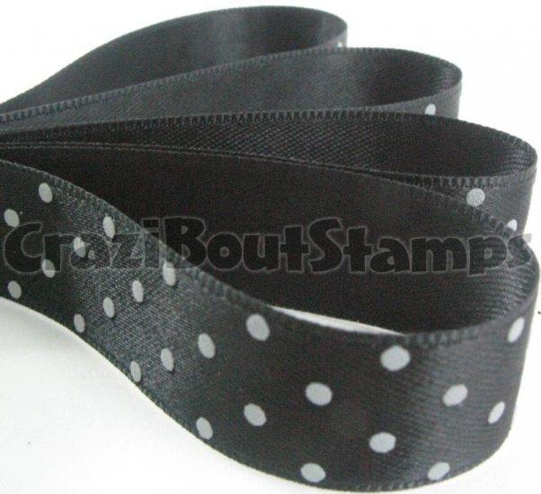 15mm x 1 Meter Polka Dots Satin Printed Ribbon (FREE S&H)
