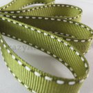 18mm x 20 Yards Olive Green Stitched Grosgrain Ribbon (FREE S&H)