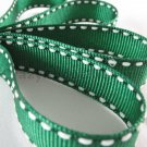 18mm x 20 Yards Christmas Green Stitched Grosgrain Ribbon (FREE S&H)