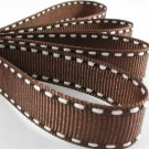 18mm x 20 Yards Brown Stitched Grosgrain Ribbon (FREE S&H)